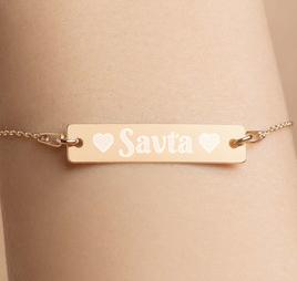 Savta Engraved Silver Bracelet