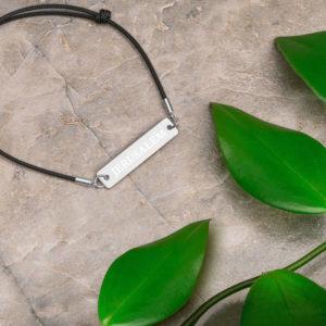 Jerusalem Engraved Silver Bar String Bracelet- Unisex