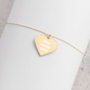best savta ever Engraved Silver Heart Necklace