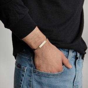 Oy Vey Engraved Silver Bar String Bracelet- Unisex