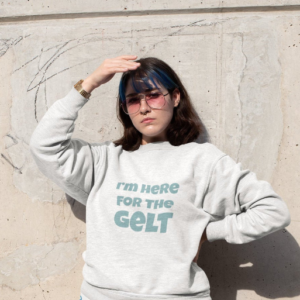 I'm Here for the Gelt funny unisex Hanukkah sweater