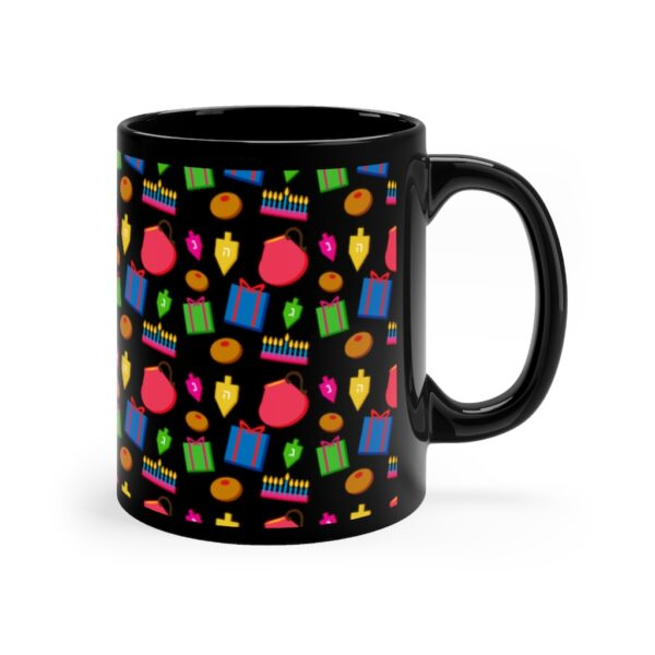 Hanukkah black mug