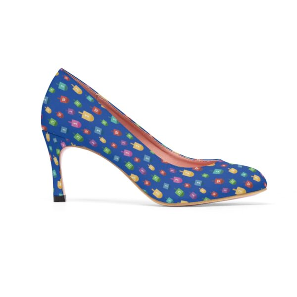 Blue Hanukkah High Heels with dreidels