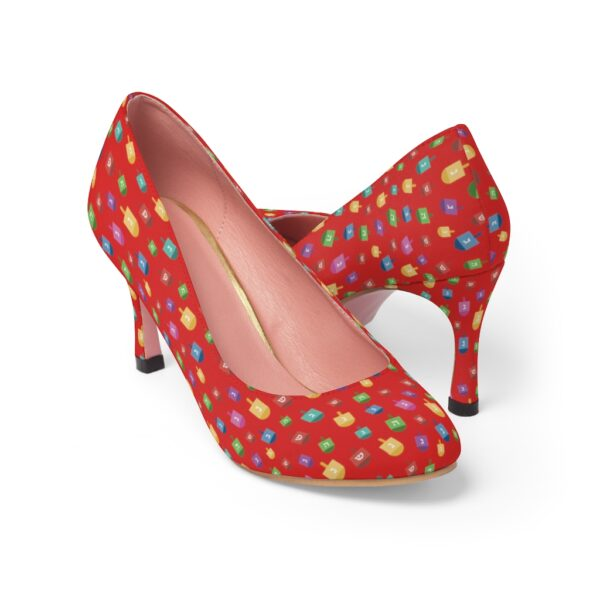 red Hanukkah High Heels with dreidels