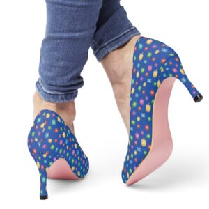 Blue Hanukkah Women's High Heels with dreidels