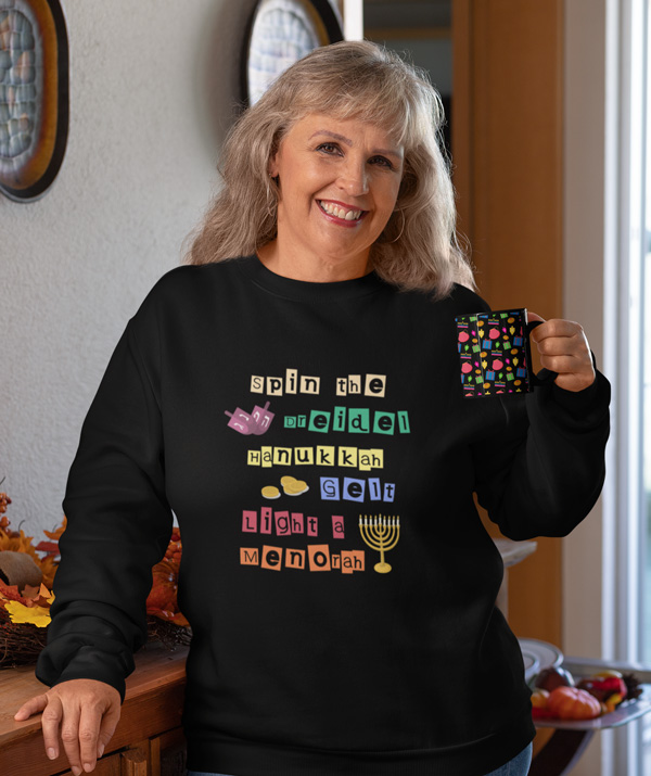 Hanukkah black mug sweater