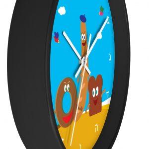 Jewish kids Wall clock with Aleph Bet